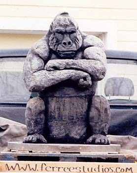 Lifesize Gorilla Sculpture carved by Wayne Ferree