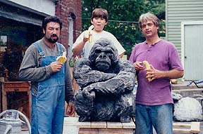 gorilla sculpture eating banannas